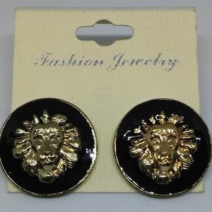Lion Stud Earrings Black Enamel Jewelry 1085
